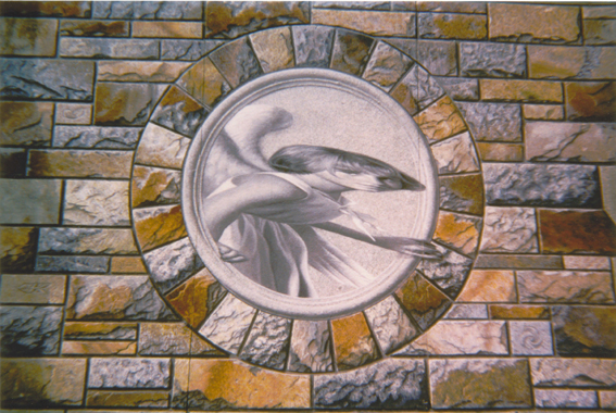 Trompe l'Oeil Angel - slant art from in front - Photo by Myrna Hoffman
