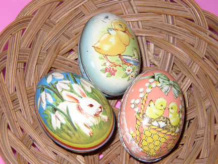 Antique Painted Metal Easter Eggs