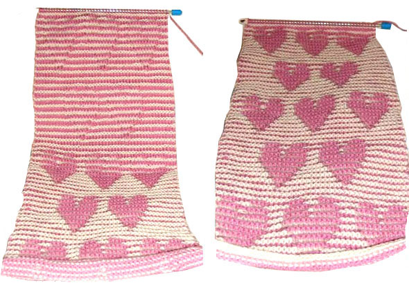 Optical Illusion shadow-knit scarf with hearts