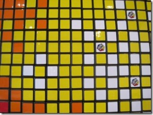 Pixel Pete - close up of section of Rubik's Cube mosaic mural