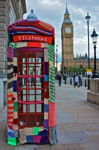 crocheted phone booth